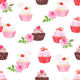 Chocolate and strawberry cupcakes seamless vector pattern Stock Photography
