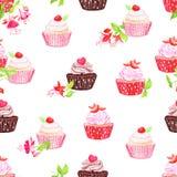 Chocolate strawberry cupcakes  seamless vector print Royalty Free Stock Photo