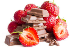 Chocolate with strawberry filling. On white background stock images