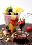 Chocolate in strawberry fruit cocktail Stock Photos