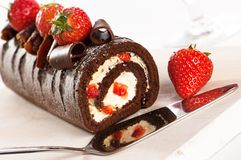 Chocolate & Strawberry Gateaux Royalty Free Stock Images