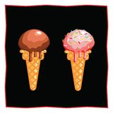 Chocolate and strawberry ice cream. Dessert on a black background for the menu of the restaurant and cafe. Icon of food on a white. Background Stock Image