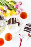 Chocolate Strawberry Lemon Torte Stock Images