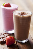 Chocolate and strawberry milkshake Stock Photography