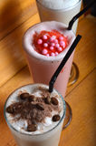 Chocolate and strawberry milkshake drink Royalty Free Stock Photography