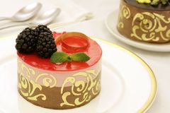 Chocolate and strawberry mousse cake Royalty Free Stock Image