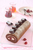 Chocolate Strawberry Swiss Roll Cake Royalty Free Stock Images