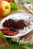 Chocolate strudel and apple compote Royalty Free Stock Image