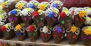 Chocolate and sugar made skulls candy Stock Photo