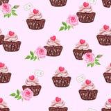 Chocolate sugar powdered cupcake seamless vector print Stock Image