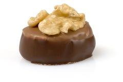 Chocolate suizo con la nuez Foto de archivo