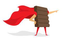 Chocolate super hero standing with cape Royalty Free Stock Photo