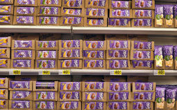 Chocolate on supermarket shelves Royalty Free Stock Photography