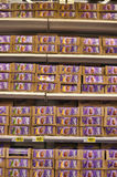 Chocolate on supermarket shelves Royalty Free Stock Photos