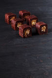 Chocolate Sushi with apple Royalty Free Stock Photo