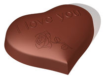 Chocolate sweet as heart. The three-dimensional image of a chocolate sweet as heart with an inscription and image Stock Illustration