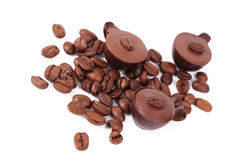 Chocolate sweet and coffee beans Stock Images