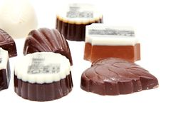 Chocolate sweetmeats with type of the Prague Royalty Free Stock Photography