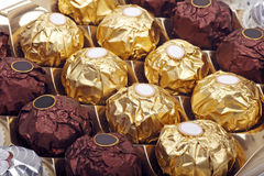 Chocolate sweets. All kinds of chocolate sweets in the box.(close up Stock Images