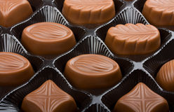 Chocolate sweets. In box close up Royalty Free Stock Images
