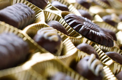 Chocolate sweets. In box close up Stock Photos
