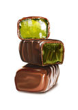 Chocolate sweets. Three tasty chocolate sweets with jelly inside Stock Photo