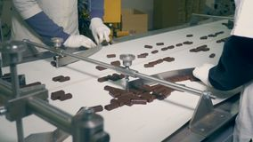 Chocolate sweets are being sorted by two factory workers while moving along the belt from a side view. 4K stock footage