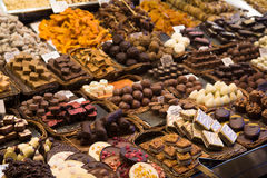 Chocolate sweets on the Boqueria Stock Photo