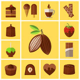 Chocolate sweets, cakes and cocoa bean flat icons. Coffee and food, biscuit taste, caffeine and espresso mug, vector illustration Royalty Free Stock Photo