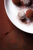 Chocolate sweets with cocoa and coconut chips on a white plate Royalty Free Stock Photo