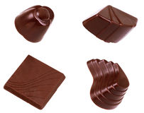 Chocolate sweets collection on a white background Royalty Free Stock Images