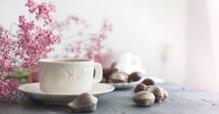 Chocolate sweets in the form of cockleshells and two cups of fragrant coffee. Romantic breakfast. Light colors. Pink flowers. Free royalty free stock photos