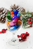 Chocolate sweets in a glass for Christmas sharing. Stock Photography
