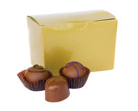 Chocolate sweets with golden box Stock Photo