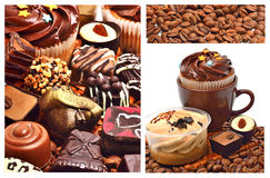Chocolate sweets, muffins and coffee beans Royalty Free Stock Photo