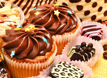 Chocolate sweets and muffins Stock Images