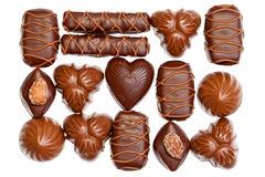 Chocolate sweets over white Royalty Free Stock Image