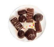 Chocolate sweets in the plate Royalty Free Stock Photography
