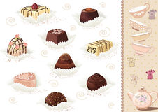 Chocolate sweets. Set of chocolate candies over white background. Vector illustration Royalty Free Stock Photography