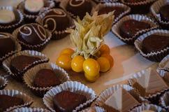 Chocolates and Aguaymanto royalty free stock photos