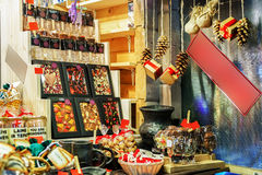 Chocolate sweets at stand during the Riga Christmas market Royalty Free Stock Image