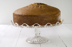 Chocolate swirl cake on a cakestand Royalty Free Stock Image