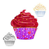 Chocolate swirl cupcake set Stock Photo