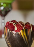 Chocolate Swirl Pastry With Raspberries Stock Images