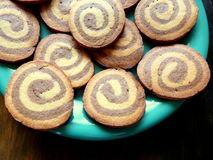Chocolate swirl round shortbread cookies Stock Image