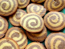 Chocolate swirl round shortbread cookies Royalty Free Stock Images