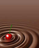 Chocolate swirl whit cherry Stock Image