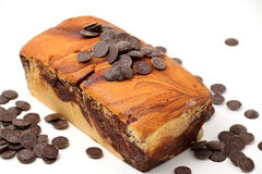 Chocolate swirls on a marble cake Royalty Free Stock Image