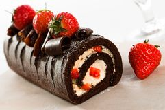 Chocolate Swiss Roll Stock Image