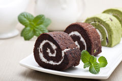 Chocolate swiss roll Royalty Free Stock Photos